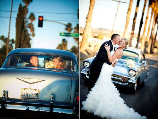 Bride and groom drive off after saying I Do in vintage wedding day transportation
