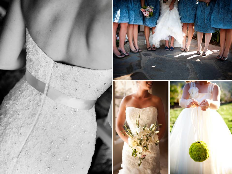 Bride-wears-white-beaded-wedding-dress-blue-bridesmaids-dresses.full