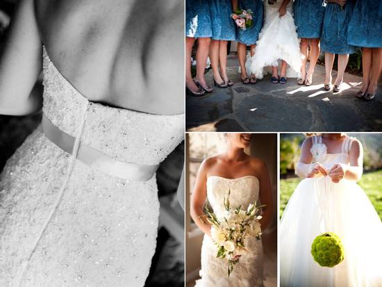 Bride wears white mermaid wedding dresses, 'maids wear blue