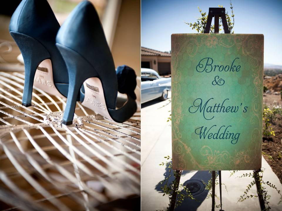 Real-california-wedding-blue-platform-bridal-heels-custom-wedding-sign.full