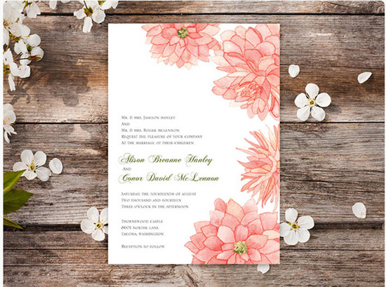Dreamy Dahlias Wedding Invitation | Oubly.com
