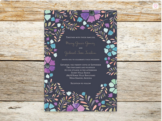 Purple Floral Wedding Invitation | Oubly.com