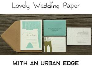 photo of Wedding invitation suite featuring city landscape of Brooklyn Bridge