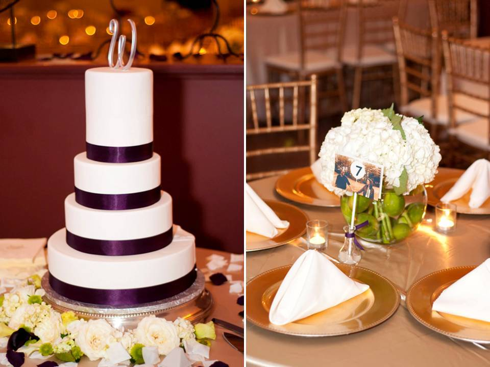 Real-wedding-inspiration-traditional-reception-decor-gold-purple-white-color-palette.full
