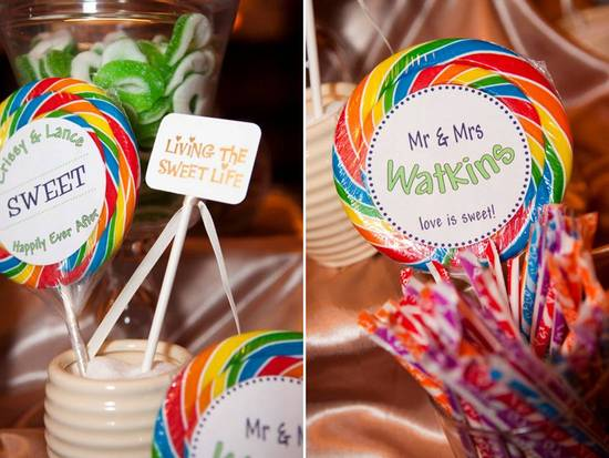 Colorful and personalized candy buffet at Atlanta wedding reception