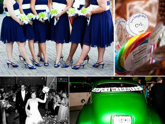 Bridesmaids wear navy blue knee-length dresses and blue strappy heels