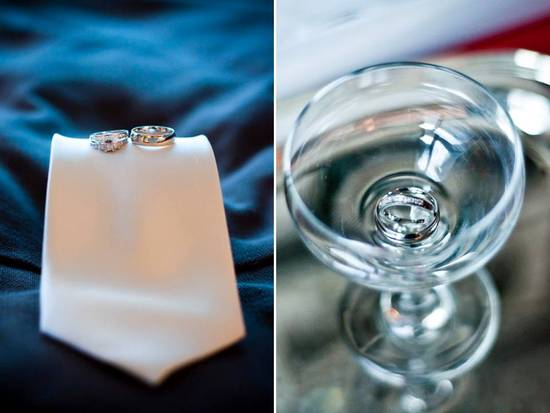 Engagement ring and wedding bands photographed on groom's tie