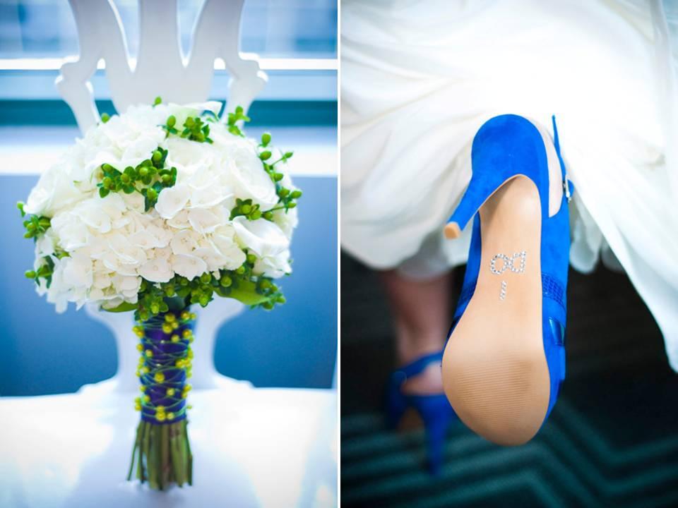 Atlanta Bride Wears Blue Bridal Heels Clutches White Bridal Bouquet