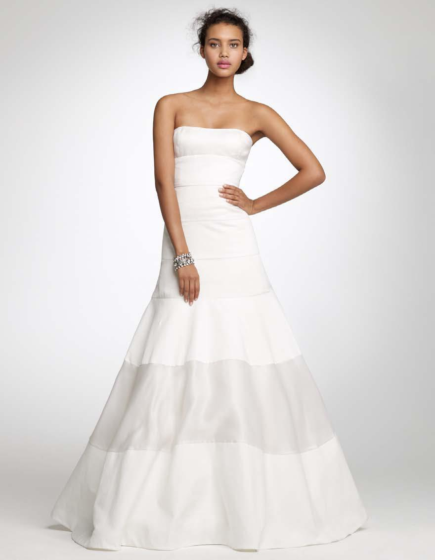 White strapless full a-line J.Crew wedding dress with silver fabric ...