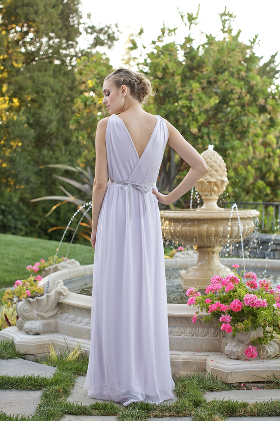 Grecian style bridesmaids dress back