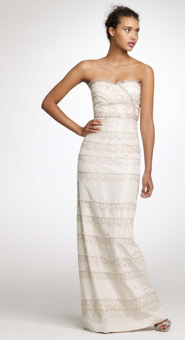 Lovely ivory and champagne column wedding dress by J.Crew