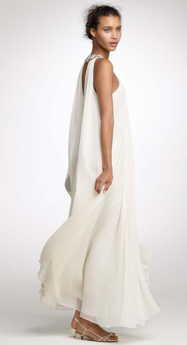 Grecian-inspired high-neck draped wedding dress from J.Crew