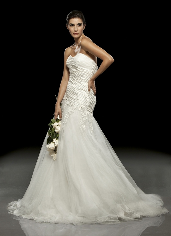 White lace drop-waist 2011 wedding dress by Francesca Miranda