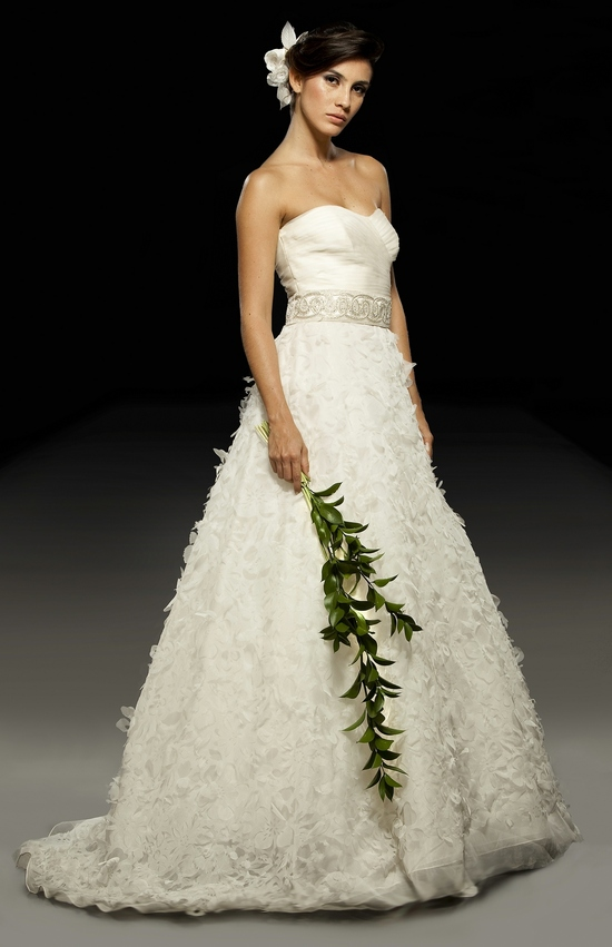 Ivory a-line 2011 wedding dress with textured skirt and beaded bridal belt