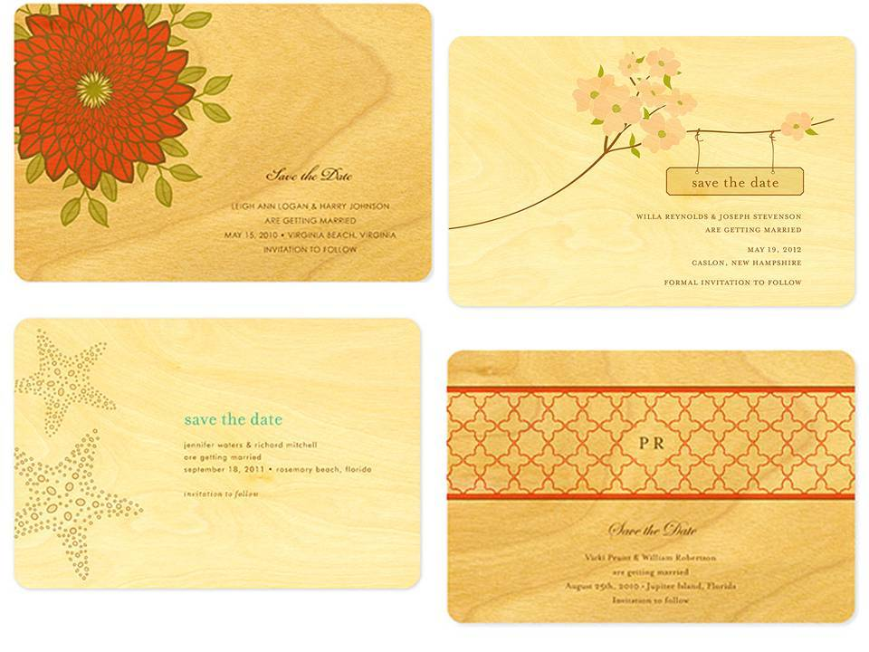 Gorgeous birch wood wedding save-the-dates with vibrant orange design