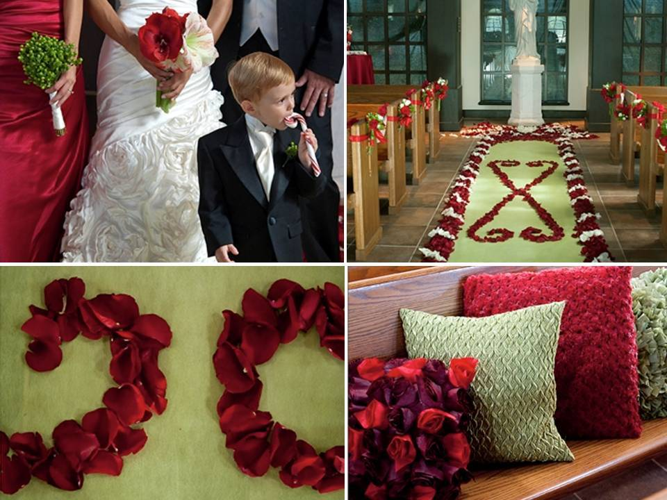 Diy-wedding-flowers-winter-wedding-red-green-white-rose-petals-festive-ceremony-aisle.full