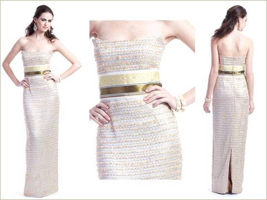 Strapless column metallic gown with gold cumberbund belt