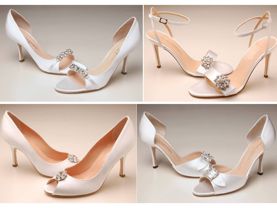 Italian peep-toe and open toe bridal heels with Swarovski details
