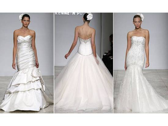2011 Kenneth Pool wedding dresses with floral hair accessories