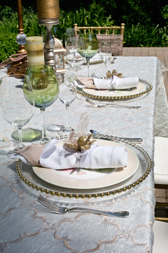 Romantic garden wedding place settings