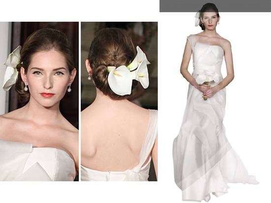 Romantic ivory 2011 Carolina Herrera wedding dress, three fresh calla lillies as hair accessory