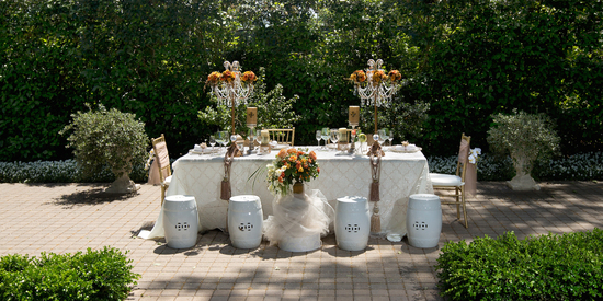 Romantic garden wedding tablescape