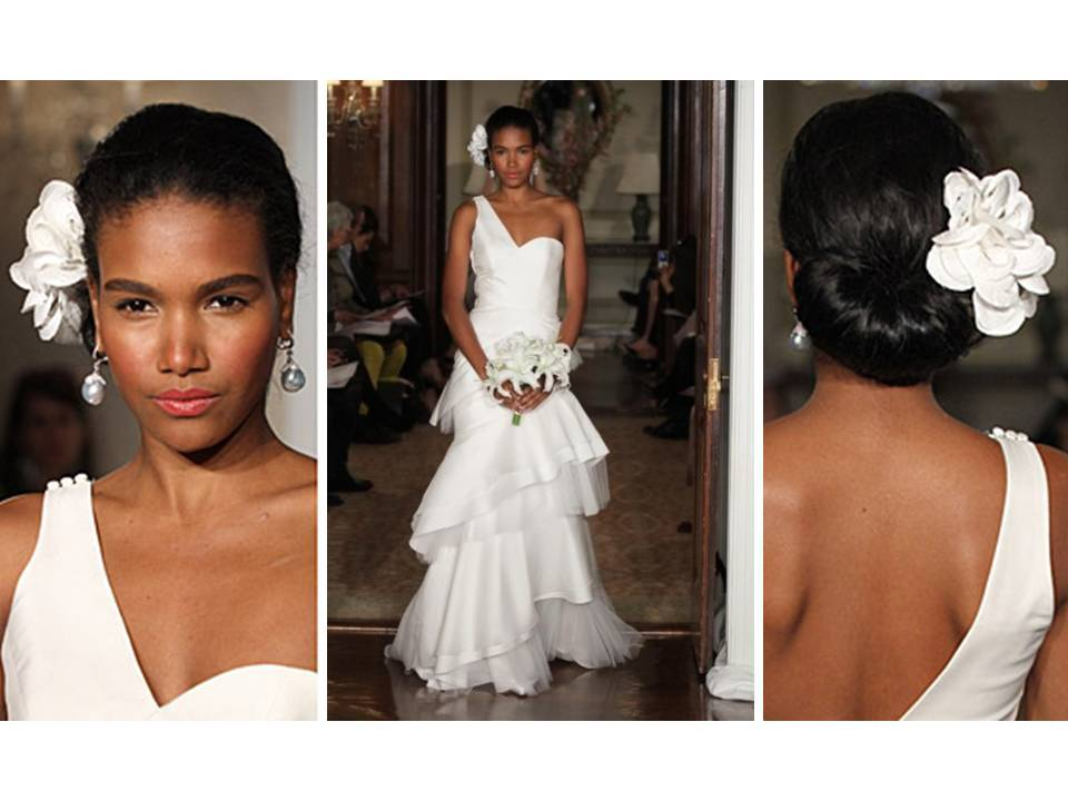 White one shoulder 2011 carolina herrera wedding dress and white white one shoulder 2011 carolina herrera wedding dress and white flower hair accessory mightylinksfo