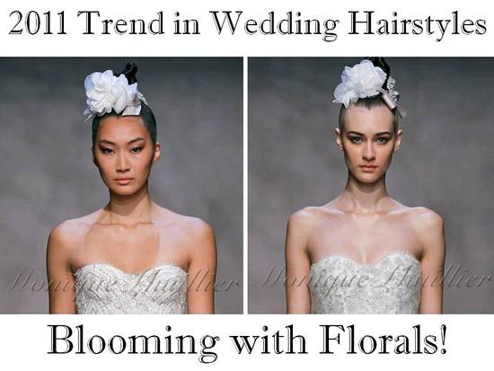 On-trend wedding hair accessory from Monique Lhuillier runway show- flowers!