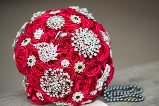 Scarlet Red Brooch Bouquet By Elegance On The Avenue