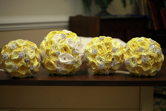 Yellow & Antique White Satin Rose Brooch Bouquets