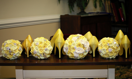 Yellow and Antique White Bridal Bouquets By Elegance On The Avenue