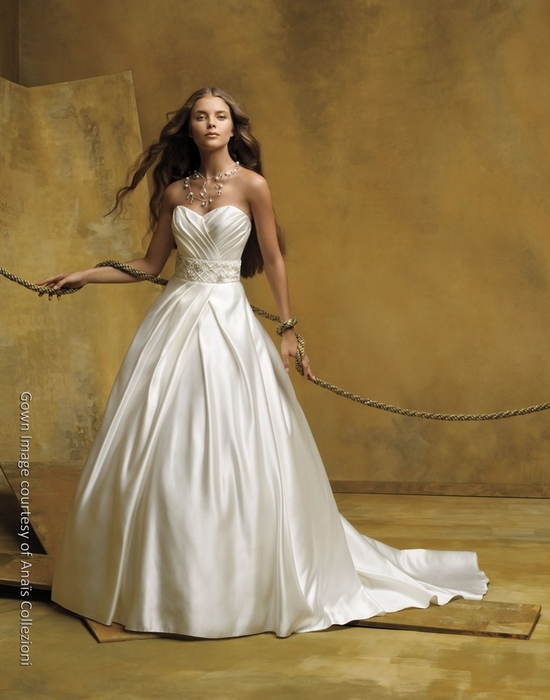 Ivory silk satin strapless ballgown with jeweled bridal belt
