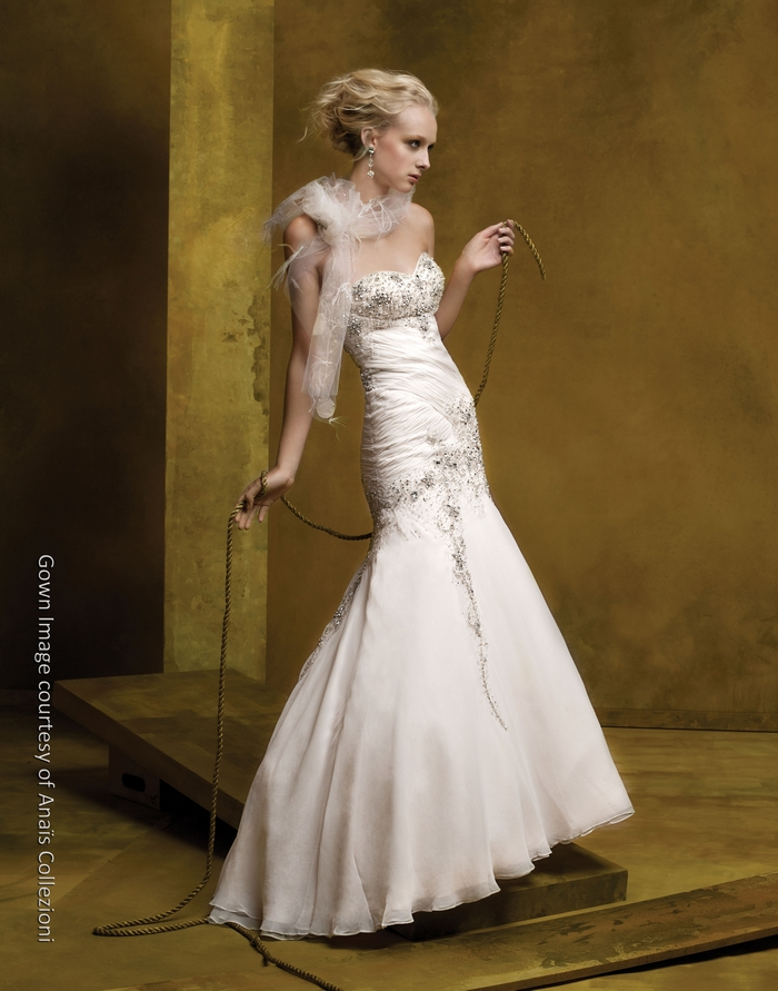 Gorgeous cream silk drop waist wedding dress with beaded for Wedding dresses with ruching and dropped waist