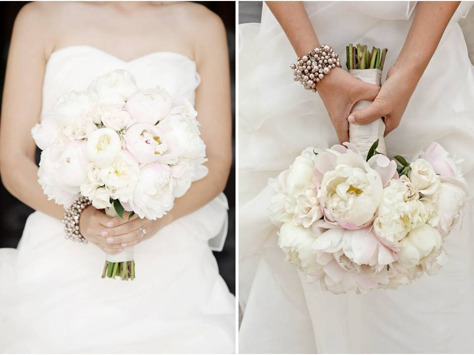 White strapless wedding dress, ivory and blush pink peony bridal bouquet