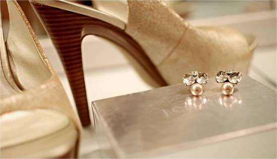 Champagne sling back high heel bridal shoes and gorgeous bridal earrings