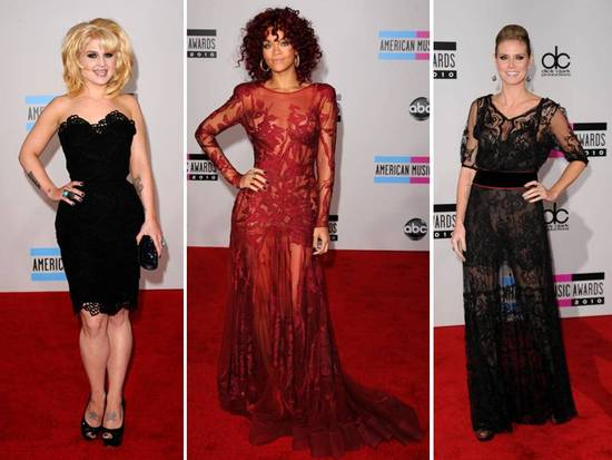 Kelly Osborn and Heidi Klum wear black lace, Rhianna wears red Elie Saab gown with sheer illusion fa