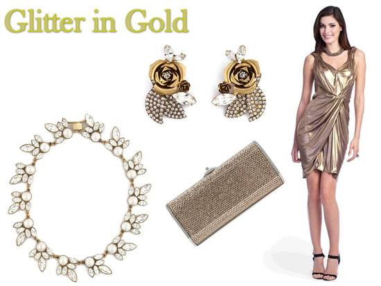 Glitter this winter in a metallic gold cocktail dress