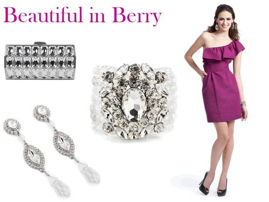 Berry is a hot hue for winter weddings, and pairs perfectly with sparkly rhinestone baubles