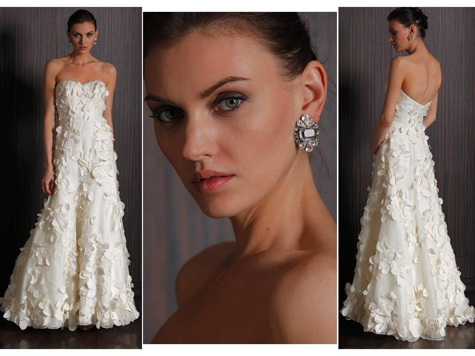2011 Meadows Wedding Dress With Romantic Leaf Embellishments