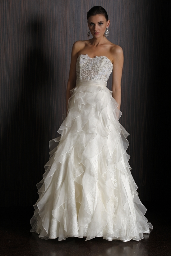 Lexington 2011 wedding dress with embellished bodice and ruffled a-line skirt