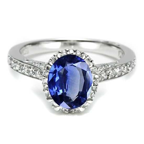 Platinum, sapphire & diamond Tacori engagement ring, just like Kate Middleton's and Penelope Cruz's