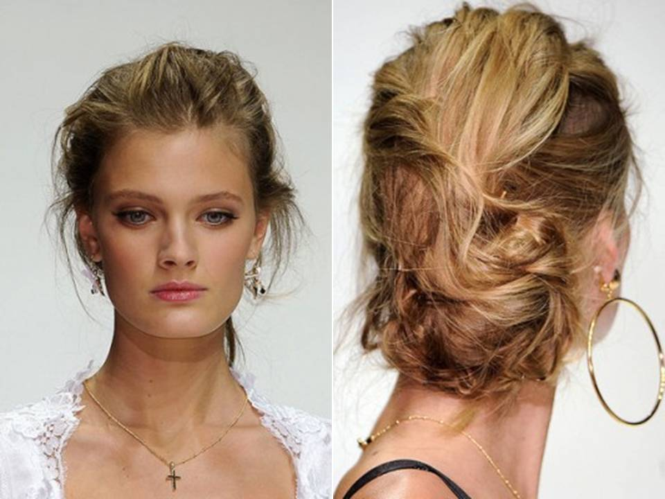 36 Messy Wedding Hair Updos: Messy Textured Updo From Spring 2011 Dolce & Gabbana