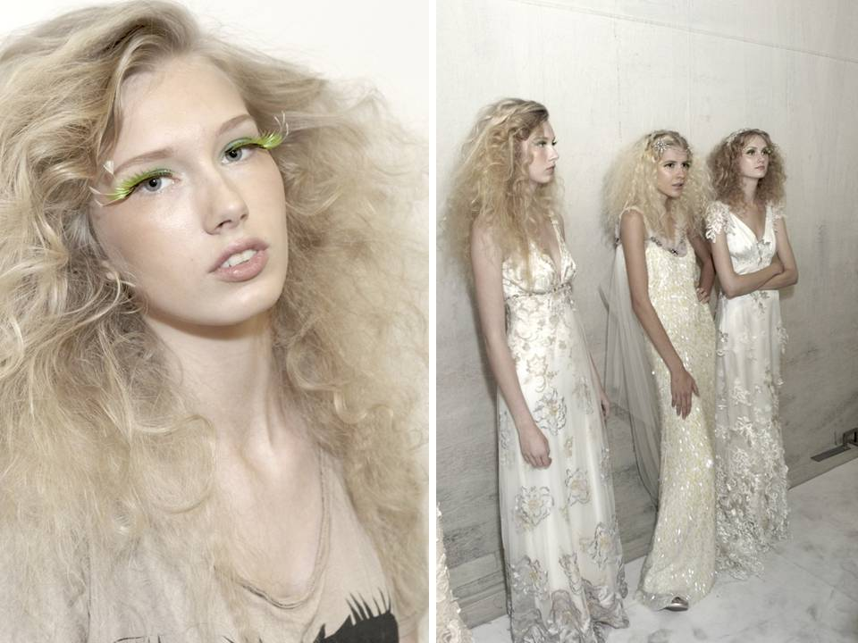 Teased Out Curls Create A High Fashion Wild Bridal Hairstyle