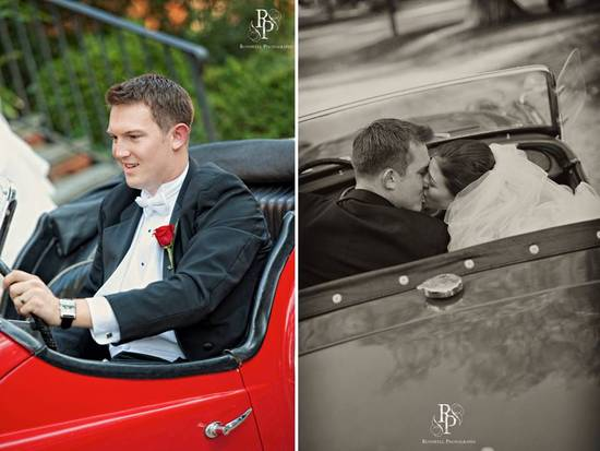 Classic groom in black tux drives off with bride in antique red car