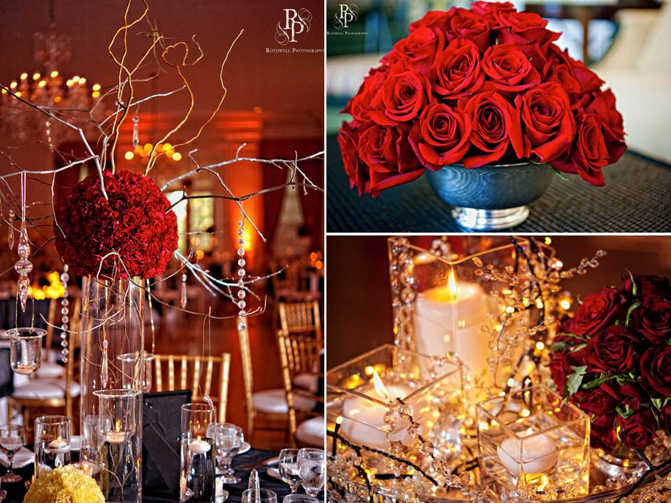 Chic enchanted wedding reception decor red roses for Red decoration for wedding