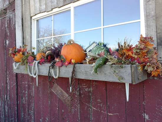 Fall display on Wedding Barn