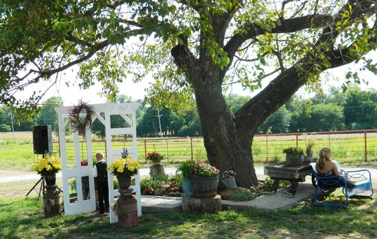 Wedding Arch and Flower Bed under the Wedding Tree in the Ranch Courtyard