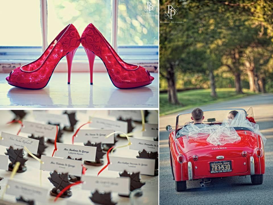 Real-virginia-wedding-red-wedding-car-antique-cute-escort-card-table.full