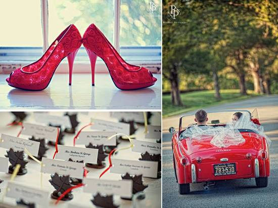 Hot red peep-toe bridal heels, and an antique red wedding day car