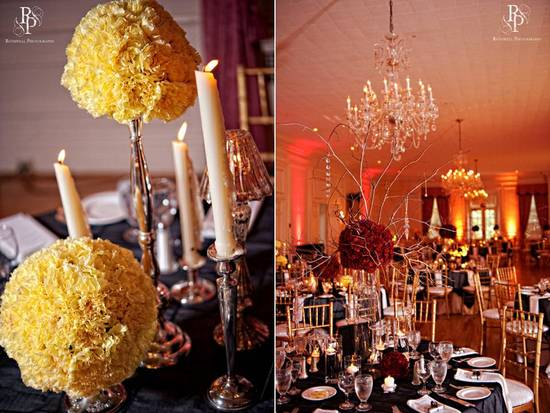 Stunning wedding reception decor with high centerpieces made from carnations